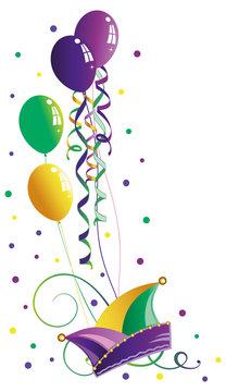Karneval Narrenkappe Luftschlangen Luftballons Konfetti Fasching Mardi Gras