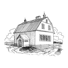 Rural landscape with old farmhouse and garden. Hand drawn illustration in vintage style. Large residential barn with a wooden fence. Vector design