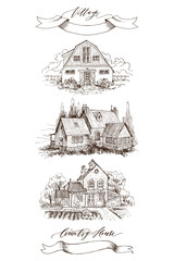 Set of Rural landscape with old farmhouse and garden. Hand drawn illustration in vintage style. Retro tape with an inscription Country house and Village. Vector design