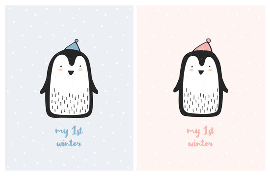 My First Winter Cute Nursery Vector Illustration Set. Sweet Little Penguins on a Light Pink and Blue Backgrounds. White Snow. Lovely Posters for Boys and Girls. Infantile Style Design. Pastel Colors.