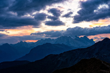 Fototapete - Colorful scenic photo of majestic Dolomites mountains in Italian Alps.