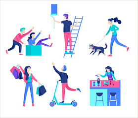 People enjoying their hobbies, reading book, shopping, dancing, cycling, skateboarding, riding a scooter, paint walls and a picture, play the guitar, cooking. Vector character
