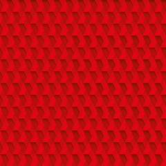 Volume realistic red seamless cubes texture, geometric tiles pattern, vector  design background for you projects