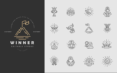Vector icon and logo winner and champion. Editable outline stroke size. Line flat contour, thin and linear design. Simple icons. Concept illustration. Sign, symbol, element.