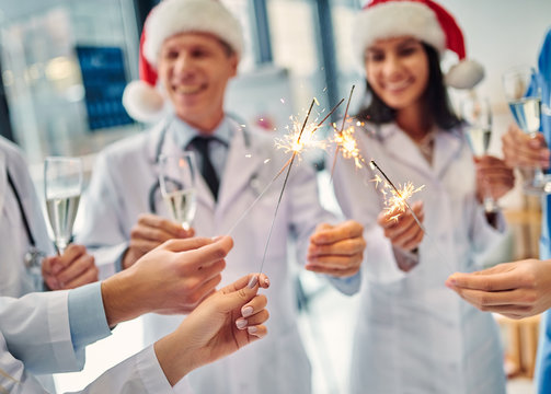 Group of doctors celebrating Christmas