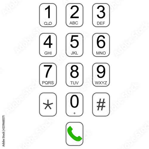 Smartphone keypad dialer with buttons vector user interface keyboard