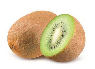 kiwi with half of kiwi isolated on a white background