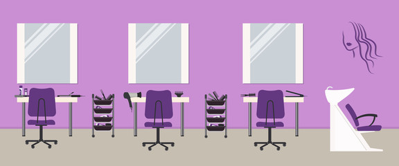 Hair salon interior in a purple color. Beauty salon. There are tables, chairs, a bath for washing the hair, mirrors, hair dryer in the image. There is also woman's silhouette on the wall. Vector