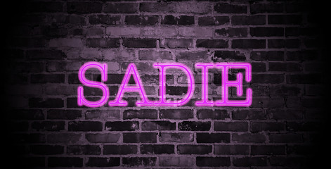 first name Sadie in pink neon on brick wall