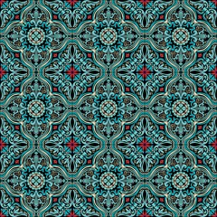 Colorful Moorish tiles. Vintage multi-color painting in Oriental style. Vector seamless pattern.