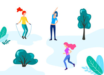 Group of young people performing sports activities at park -running, jumping rope, fitness, gymnastics exercises, jogging. Outdoor workout. Flat vector illustration of woman, girls outdoor activity