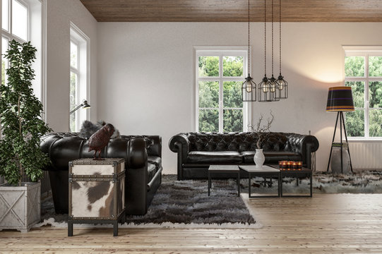 Cozy living room with chesterfield couch