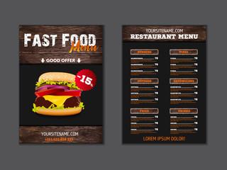 Fast food loft menu brochure design on wooden background vector template in A4 size. flyer, baner and Layout Design. food concept.