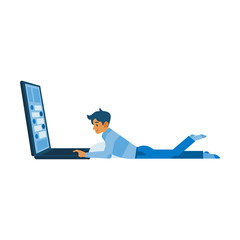 Vector social communication concept with young man male character lying at floor behind huge laptop taping, chatting, sending messages. Flat illustration
