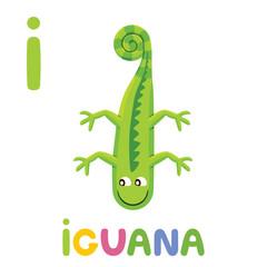I is for Iguana. Letter I. Iguana, cute illustration. Animal alphabet.