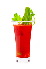 Deurstickers Cocktail Bloody Mary Cocktail Isolated on white background. Selective focus.