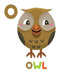 O is for Owl. Letter O. Owl., cute illustration. Animal alphabet.