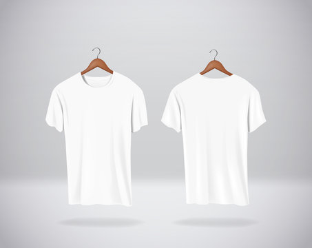 White T-Shirts Mock-up clothes hanging isolated on wall, blank f