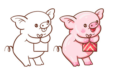 Winter illustration with cute cartoon pig