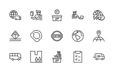 International Customs Day Set Line Vector Icons. Editable Stroke. 32x32 Pixel Perfect