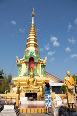 Stupa chedi and buddha statue images in Wat Phrachao Thanchai and Phra That San Kwang temple at Chiangrai city in Chiang Rai, Thailand