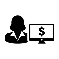 Cash icon vector female user person profile avatar with computer monitor and dollar sign currency money symbol for banking and finance business in flat color glyph pictogram illustration