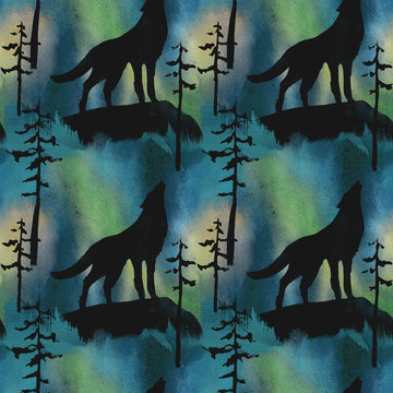 wolf on the background of the northern lights watercolor