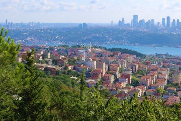 Istanbul sunset panorama. Cityscape of Istanbul and travel to Turkey. Panoramic of Istanbul.