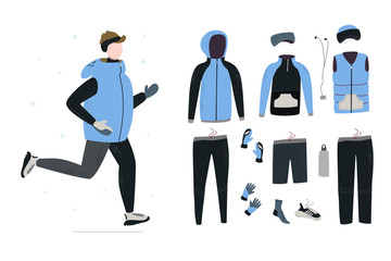 Illustration of young man running in winter cold season with winter running gear.