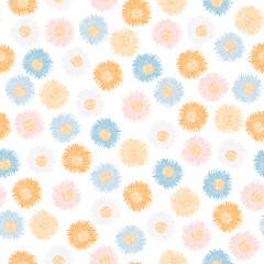 Suns in pastel colors. Seamless background. Vector illustration