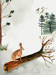 Greeting card with background of forest and mountains. Children's theme. Postcard with a hare. Wildlife