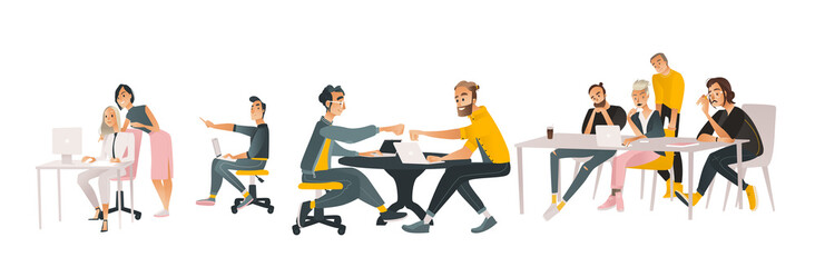 Coworking communication vector illustration set in cartoon style isolated on white background. Various scenes of business people working together and discussing projects.