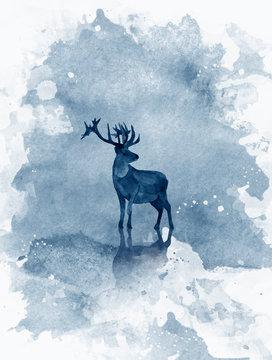 Watercolor realistic deer. Hand drawn zoo illustration