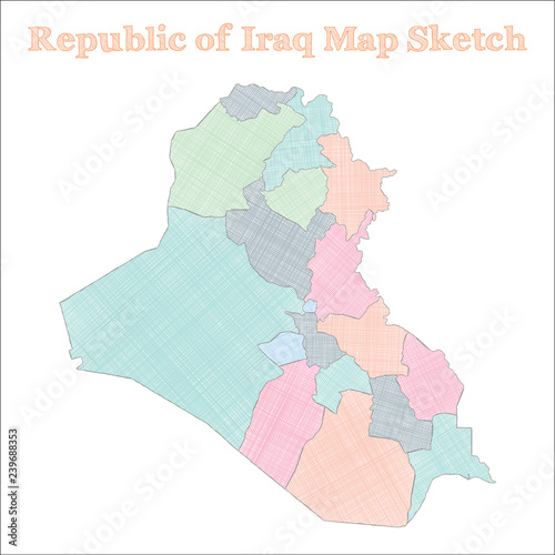 Republic of Iraq map  Hand-drawn country  Majestic sketchy