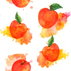 A watercolor seamless pattern with vibrant red apples on a white background with paint stains, a vegan repeat print