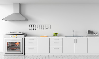 Modern white kitchen countertop with gas stove and sink for mockup, 3D rendering