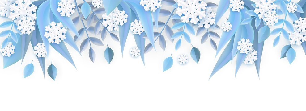 Vector illustration of winter natural border frame with blue tree leaves and white snowflakes in paper art style isolated on white background - decorative element for floral seasonal banner.