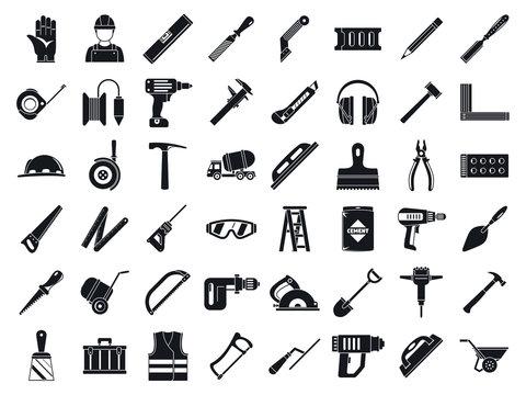 Masonry worker tools icon set. Simple set of masonry worker tools vector icons for web design on white background