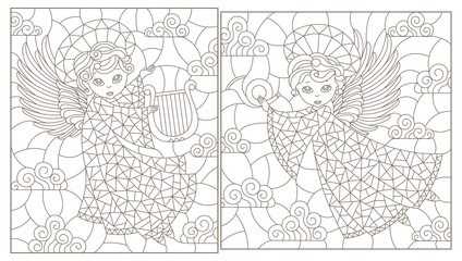 Set of contour illustrations of stained glass Windows with cute angels on a cloud sky background, dark contours on a white background