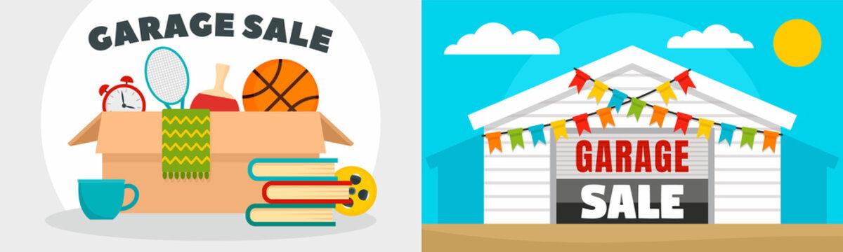 Garage sale banner set. Flat illustration of garage sale vector banner set for web design