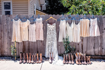 Wedding Dress and Bridesmaids Dresses and Boots