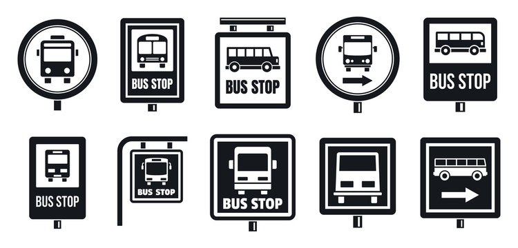 Bus stop sign icon set. Simple set of bus stop sign vector icons for web design on white background