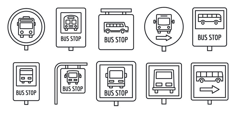 City bus stop sign icon set. Outline set of city bus stop sign vector icons for web design isolated on white background
