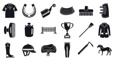 Horseback riding activity icon set. Simple set of horseback riding activity vector icons for web design on white background