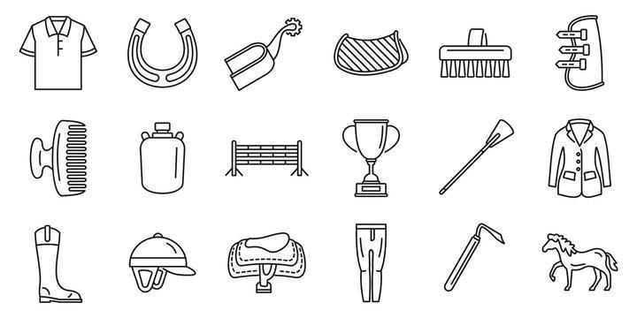 Horseback riding gear icon set. Outline set of horseback riding gear vector icons for web design isolated on white background