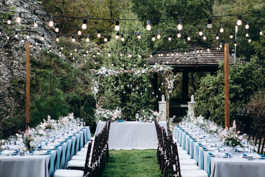Wedding table decoration and details with flowers