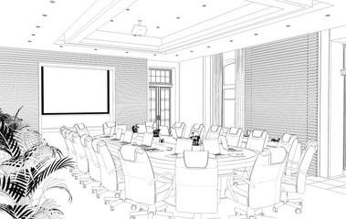 conference room, meeting room, contour visualization, 3D illustration, sketch, outline