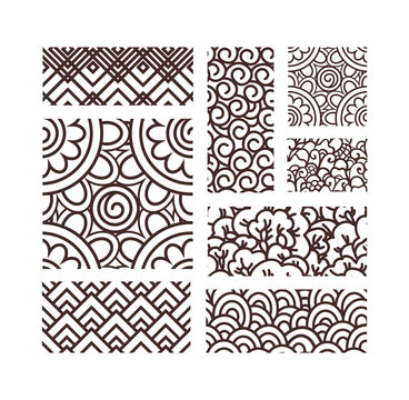 Big collection of oriental ancient seamless patterns