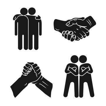 Brotherhood icon set. Simple set of brotherhood vector icons for web design on white background