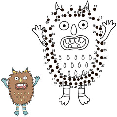 Connect the dots and draw a cute monster. Numbers game for children. Great for Halloween activities. Vector illustration